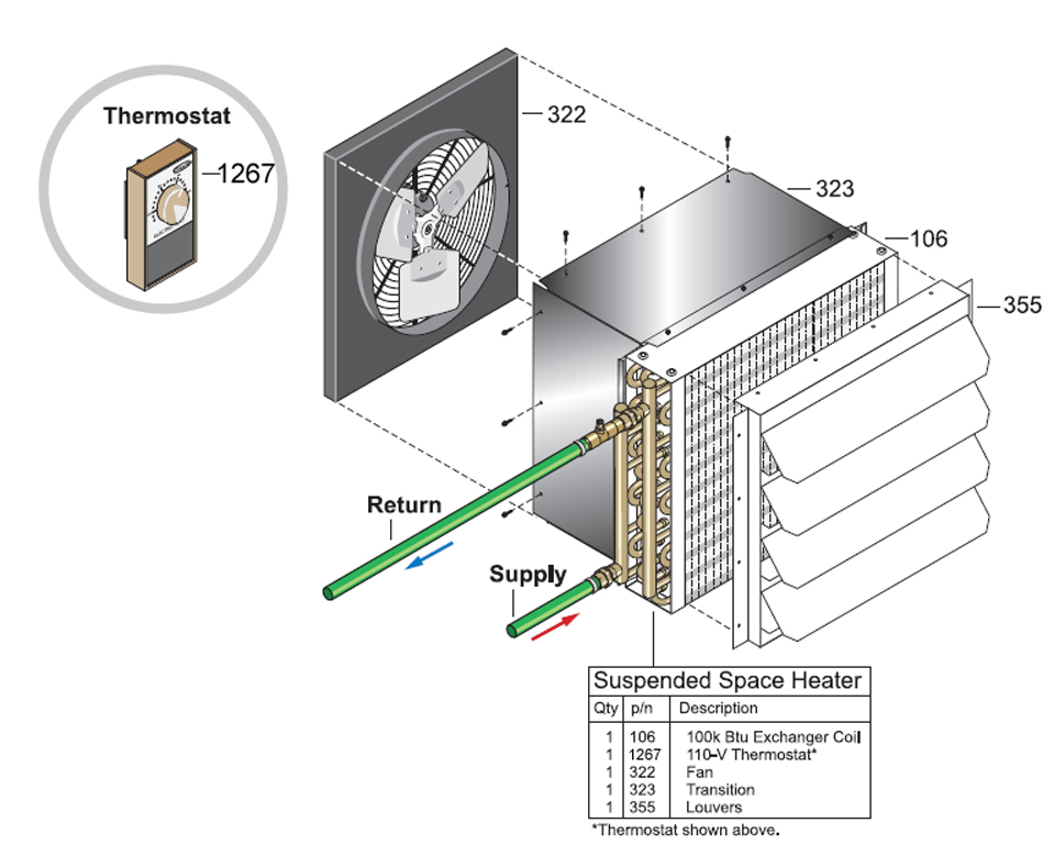 Space Heater Transition Cabinet Kit, 100K